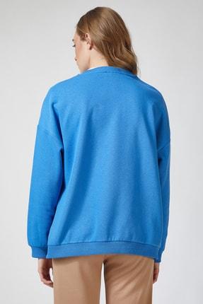 Happiness İst. Kadın Mavi Baskılı Polarlı Sweatshirt HF00169 2