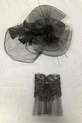 Hayalperest boncuk Siyah Vualet Şapka Ve Bileklik Aksesuar 1