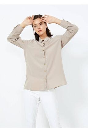 Adze Kadın Vizon Düğmeli Şık Gömlek Vızon L 2