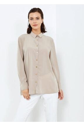 Adze Kadın Vizon Düğmeli Şık Gömlek Vızon L 4