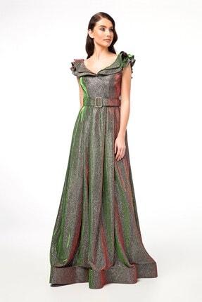 Abiye Sarayı Yeşil Kemer Detaylı Kolları Volanlı Uzun Abiye Elbise 0