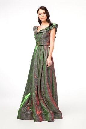 Abiye Sarayı Yeşil Kemer Detaylı Kolları Volanlı Uzun Abiye Elbise 1
