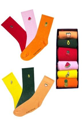 Socks Fabrikası Renkli Meyve Nakışlı 6'lı Çorap Kutusu 0