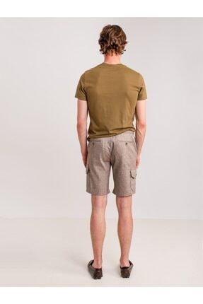 Dufy Kahve Melanj Ip Detaylı Cepli Keten Karışımlı Erkek Short - Modern Fit 3