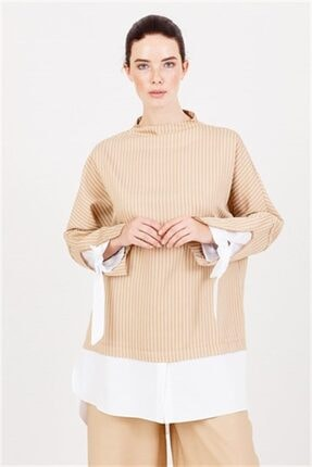 Ghisa Beyaz Koton Detaylı Tunik Pantolon Takımı Camel 4