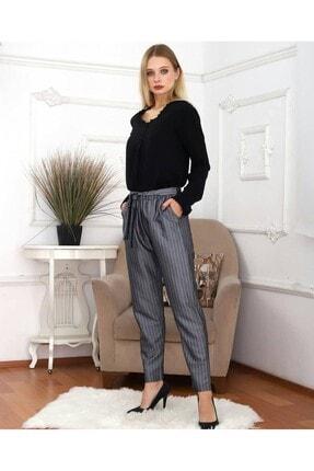 KaSheHa Kadın Antrasit Micro Dabıl Kumaş Cepli Kuşaklı Pantolon 0