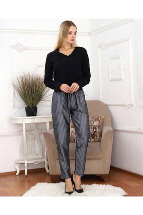 KaSheHa Kadın Antrasit Micro Dabıl Kumaş Cepli Kuşaklı Pantolon 1