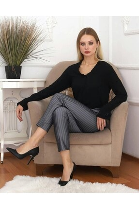 KaSheHa Kadın Antrasit Micro Dabıl Kumaş Cepli Kuşaklı Pantolon 3