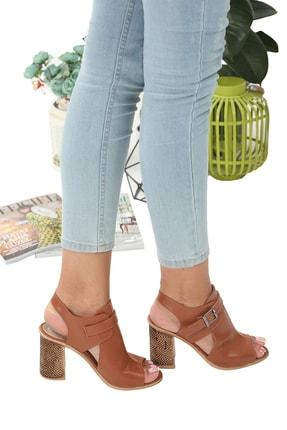 Reginna Taba Rengi Önü Açık Topuklu Ayakkabı REGİNNA