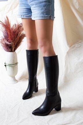 Deripabuc Hakiki Deri Siyah Kadın Deri Çizme Dp02-0404 2