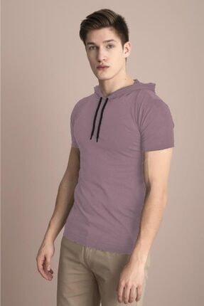 Tena Moda Erkek Pudra Kapüşonlu Düz Tişört 3