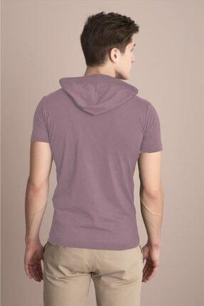 Tena Moda Erkek Pudra Kapüşonlu Düz Tişört 4