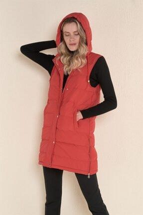 Z GİYİM Kadın Kırmızı Kapşonlu Uzun Şişme Yelek 0