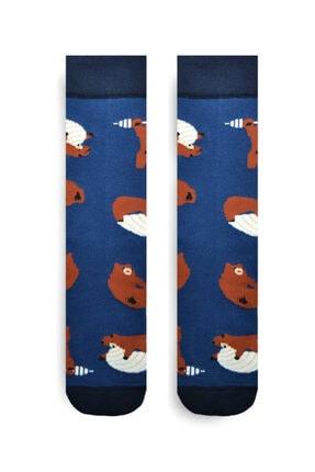 iconsocks Unisex Soket Plates Yapan Ayı Desenli Tasarım Çorap 0
