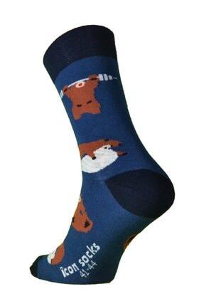 iconsocks Unisex Soket Plates Yapan Ayı Desenli Tasarım Çorap 4