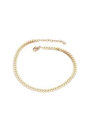 X-Lady Accessories Happy Balık Sırtı Zincir Tasma Kolye Gold 4