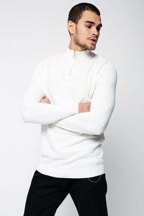 Lafaba Erkek Beyaz Fermuarlı Triko 2