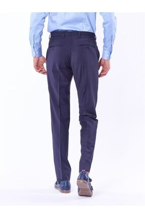 Dufy Lacivert Düz Bez Ayağı Dokuma Kumaş Erkek Pantolon - Regular Fıt 1