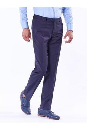 Dufy Lacivert Düz Bez Ayağı Dokuma Kumaş Erkek Pantolon - Regular Fıt 3