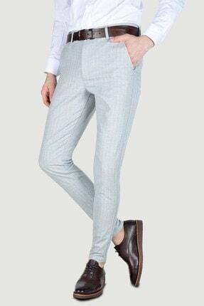 Terapi Men Erkek Çizgi Desenli Slim Fit Keten Pantolon 20y-2200268 Gri 0