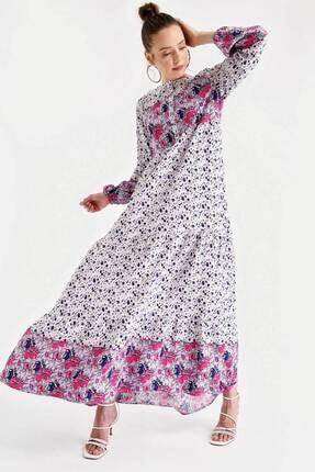 1943 Çiçek Desen Etek Ucu Valanlı Elbise resmi