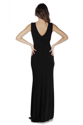 CARMEN Siyah Sandy Yırtmaçlı Uzun Abiye Elbise 3