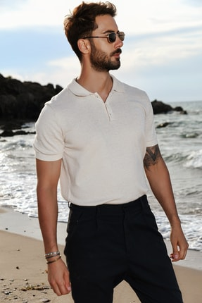 CHUBA Bej Erkek Polo Yaka Triko T-shirt 1