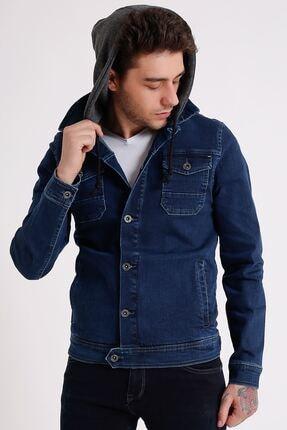 تصویر از Erkek Çıkarılabilir Kapüşonlu Koyu Mavi Yıkamalı Kot Ceket