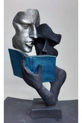 By Ari Ev Dekorasyon Kitap Okuyan Çift Biblo 0