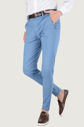 Terapi Men Erkek Ekoseli Slim Fit Keten Pantolon 20k-2200258 Mavi 0