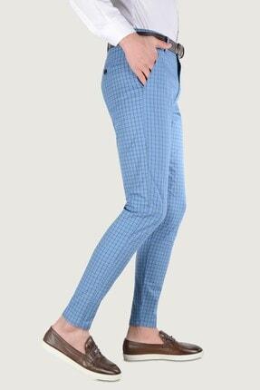 Terapi Men Erkek Ekoseli Slim Fit Keten Pantolon 20k-2200258 Mavi 2