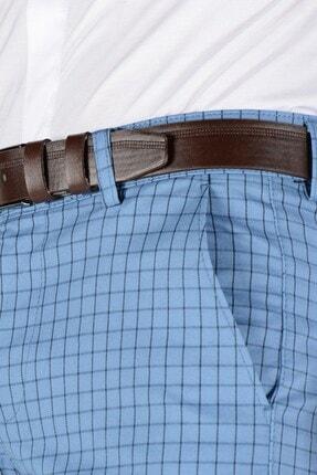 Terapi Men Erkek Ekoseli Slim Fit Keten Pantolon 20k-2200258 Mavi 4