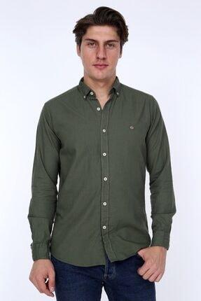 GULF BIRD Oxford Haki Slım Fıt Erkek Gömlek 0