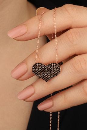passion silver Kadın 925 Ayar Gümüş Siyah Taşlı Kalp Kolye 1