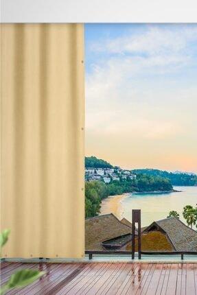 ALTINPAMUK 200x250 Balkon Perdesi Balkon Brandası Koyu Krem Kuşgözlü 0
