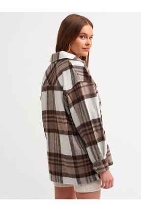 Dilvin - One Of Giz - Kadın Kahverengi Oduncu Gömlek 2