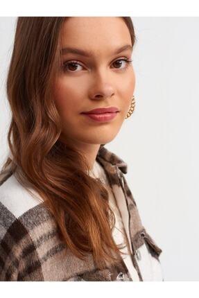 Dilvin - One Of Giz - Kadın Kahverengi Oduncu Gömlek 3
