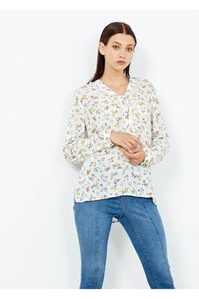 Adze Kadın Ekru Desenli Gömlek Tunik Ekru Xs 0