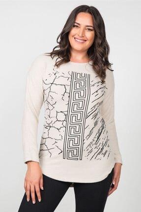 Womenice Kadın Ekru Pamuklu Labirent Flok Basklı Büyük Beden Bluz 1