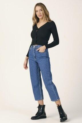 its basic Kadın Mavi Renk Wide Leg Kalıp Yüksek Bel Jean 2