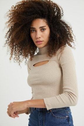 dcollection Kadın Taş Rengi Önü Pencereli Crop Top 1