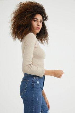 dcollection Kadın Taş Rengi Önü Pencereli Crop Top 2