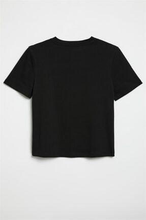 GRIMELANGE Hannah Kadın Siyah Yuvarlak Yakalı Basic T-shirt 1