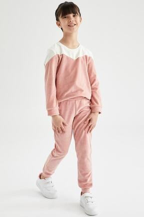 Defacto Kız Çocuk Pembe Renk Bloklu Sweatshirt Ve Jogger Eşofman Takımı 1
