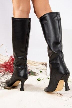Fox Shoes Siyah Suni Deri Kadın Çizme J572463309 0