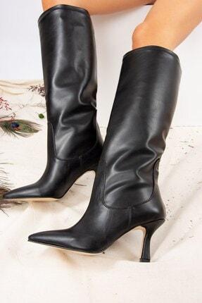 Fox Shoes Siyah Suni Deri Kadın Çizme J572463309 1
