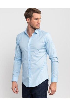Tudors Slim Fit Likralı Açık Mavi Gömlek 1
