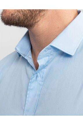 Tudors Slim Fit Likralı Açık Mavi Gömlek 3