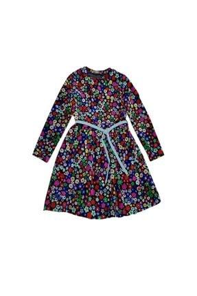 feyzamavm Renkli Desenli Bağcıklı Kadife Kız Çocuk Elbise 0
