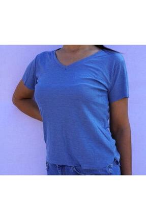 Indigo Mavi Fitilli T-shirt T-SHİRT